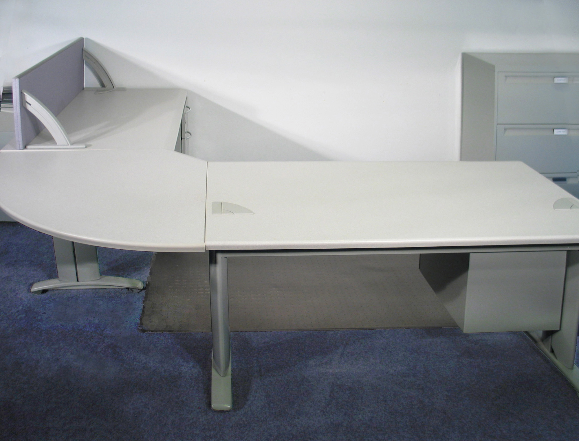 assembled office desks. Assembled 3-Piece Sectional Steelcase Desk System Office Desks